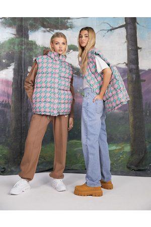 ASOS Women Gilets - Oversized monogram printed gilet puffer jacket-Multi
