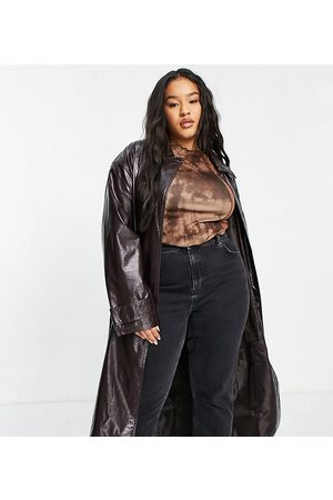 ASOS Women Trench Coats - ASOS DESIGN Curve crinkle faux leather trench coat in oxblood