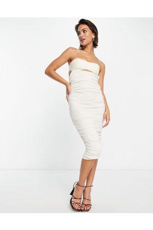 ASOS Women Bodycon Dresses - Bandeau linen slub mixed ruched bodycon midi dress in stone-Neutral