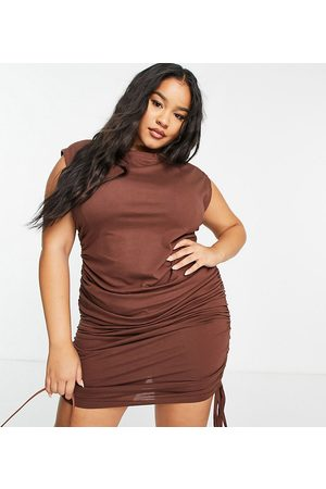 Missguided Mini dress with ruched side in chocolate