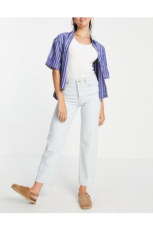 SELECTED Women High Waisted - Femme organic cotton kate straight leg jeans with high waist in light
