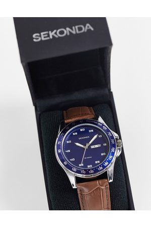 Sekonda Mens leather watch with blue dial in