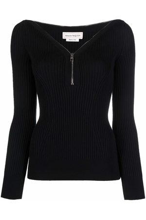 Alexander McQueen Women Tops - Zip-detail ribbed-knit top