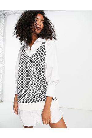 River Island Hybrid poplin dress with knitted monogram tank in cream
