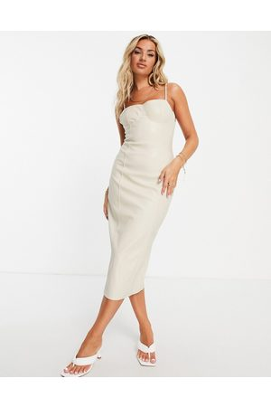 Missguided Bodycon dress in cream faux leather