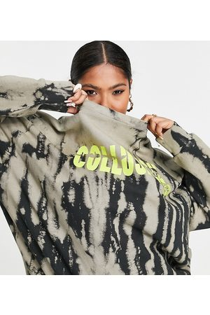 COLLUSION Plus bleached wash sweat with graphic in multi