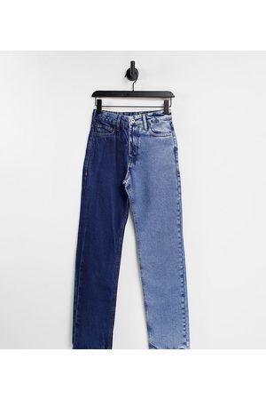 COLLUSION X000 Unisex straight leg half and half jeans