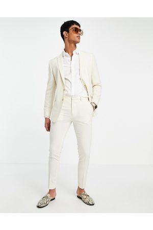 ASOS Wedding super skinny suit trousers in stone crosshatch-Neutral