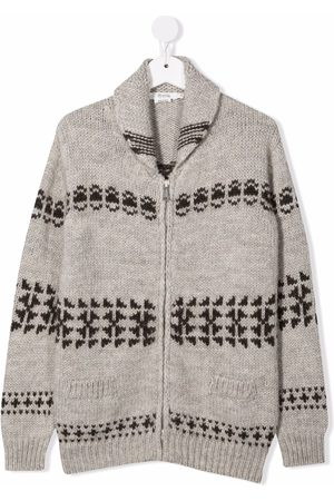 BONPOINT TEEN patterned-intarsia-knit zipped cardigan