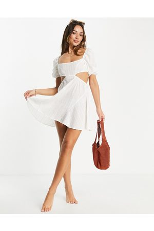 Fashion Union Exclusive cut out mini beach dress with puff sleeves in broderie