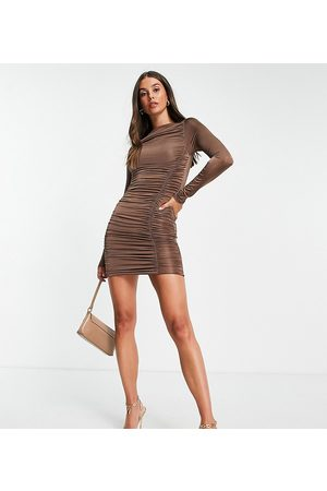 Missguided Slinky long sleeve mini dress with ruching in