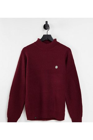 Le Breve Tall heavy ribbed turtle neck jumper in burgundy
