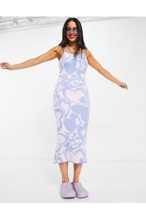 Vintage Supply Heart swirl print knitted cami dress in lilac