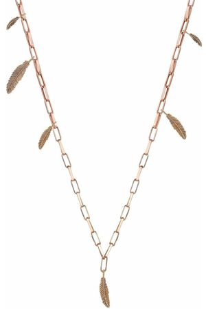 Milka 14kt rose gold feather thick chain necklace