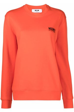 Msgm Women Sweatshirts - Logo-print cotton sweatshirt