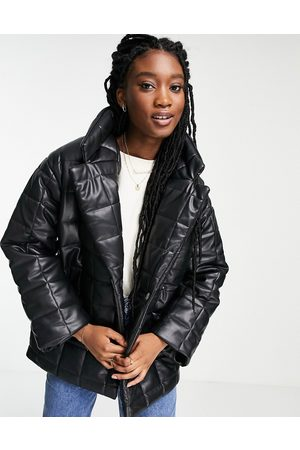 Monki Faux leather quilted jacket in