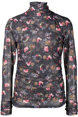 Cinq A Sept High-neck floral-print top