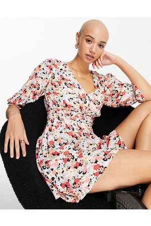 Miss Selfridge Shirred waist tea dress in cluster floral-Multi