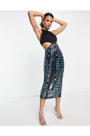 Virgos VL the Label halter neck midi dress with sheer skirt in metallic