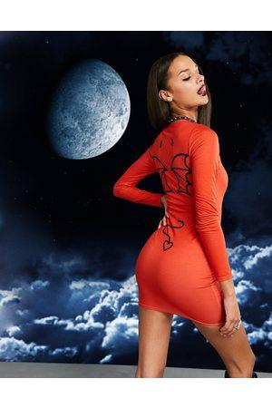 ASOS Halloween long sleeve bodycon mini dress in devil graphic