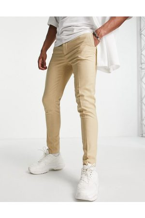 ASOS Wedding super skinny suit trousers in camel micro texture-Neutral