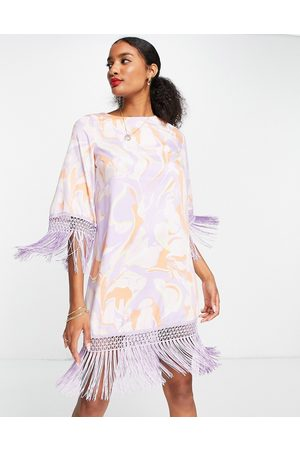River Island Printed shift dress with fringing in