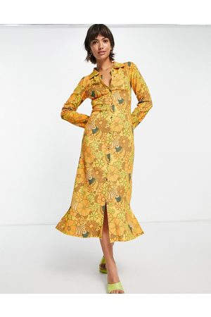 Damson Madder Recycled polyester 70's floral button through midi dress in warm