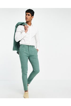 ASOS Wedding super skinny suit trousers in forest crosshatch