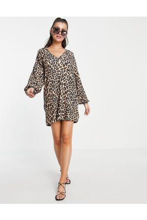 ASOS Oversized v neck long sleeve dress in leopard print