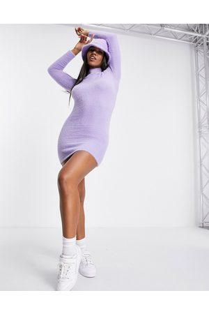 ASOS Knitted mini dress in eyelash yarn in lilac