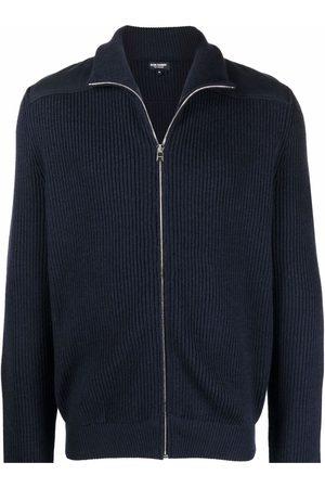 RON DORFF Zip-up ribbed knit cardigan