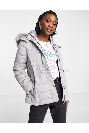 New Look Hooded puffer jacket in