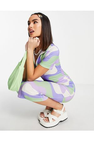 ASOS Ribbed short sleeve collared midi dress in green and blue swirl print-Multi
