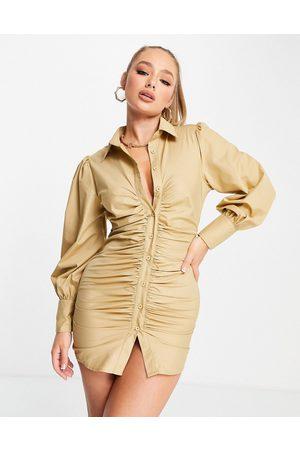 Missyempire Ruching long sleeve shirt dress in camel-Neutral