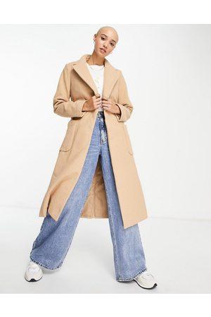 New Look Belted tailored coat in dark camel
