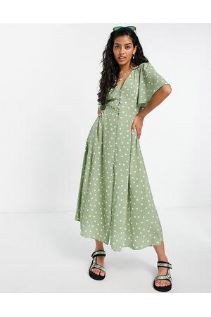 ASOS Button through tie back midi tea dress with angel sleeve in green spot print-Multi