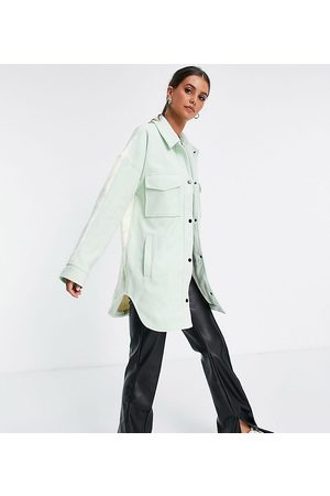 Missguided Houndstooth back spliced shacket in mint