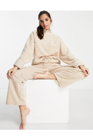 ASOS Lounge mix & match borg sweat with pearl detail in -Neutral