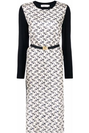 Tory Burch Embroidered belted silk jumper dress