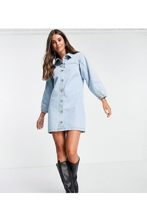 Missguided Light wash denim fitted dress in