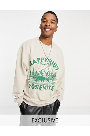 Reclaimed Inspired oversized organic cotton sweatshirt with happy hills print in stone-Neutral