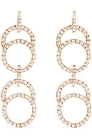 COURBET 18kt rose gold diamond pavé set Celeste double hanging earrings