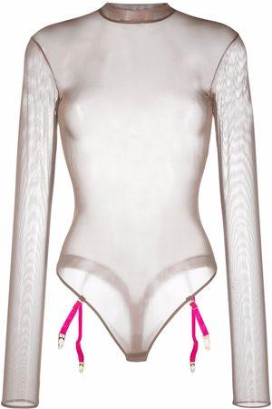 MAISON CLOSE Semi-sheer garter bodysuit