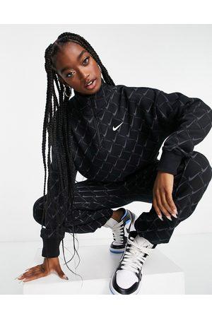 Nike Zip neck sweatshirt in with all over swoosh print