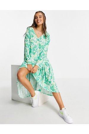 ASOS V neck long sleeve frill detail midi dress in 70s floral print