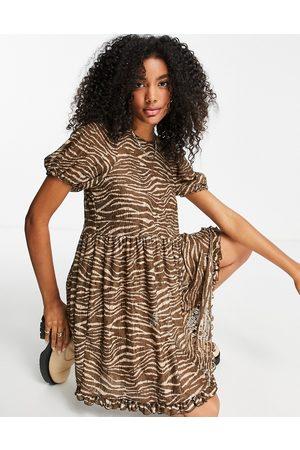 River Island Animal print lace mini smock dress in