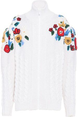 Miu Miu Floral-embroidered cardi-coat