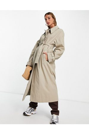 ASOS Sharp collar trench coat in stone-Neutral