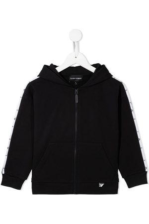 Emporio Armani Logo-stripe zip-up hoodie