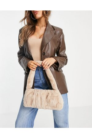 ASOS Shoulder bag in stone faux fur with ruching-Neutral